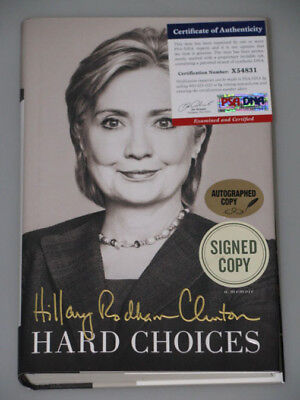 HILLARY RODHAM CLINTON Hand Signed Book HARD CHOICES + PSA DNA COA