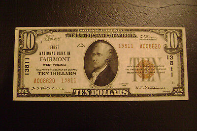 Fairmont, WV National Banknote Currency-$10 Small-1929-Charter #13811-Type 2