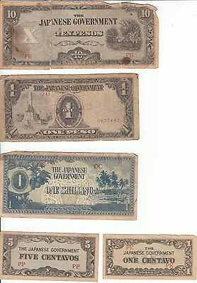 Japanese one and ten peso one and five centavos one shilling notes