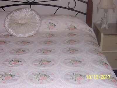 vintage crochet large bedspread/tablecloth with embroidery inserts 257cm x 243cm