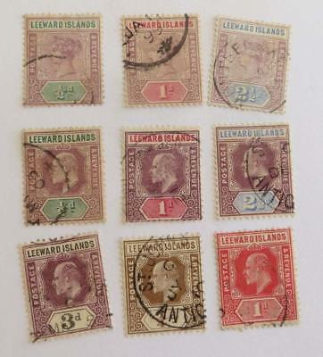 Leeward Islands QV and KEd small collection used