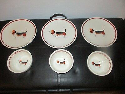 "Basset Hound Dog Creative Co-op 8"" Round Dolomite Set of 3 Plates & Bowls NEW"