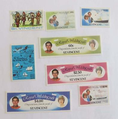 St Vincent QE small collection (46 stamps) unused