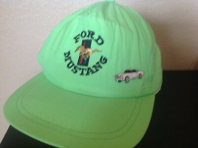 Vintage Ford Mustang Neon Green Hat With Pin