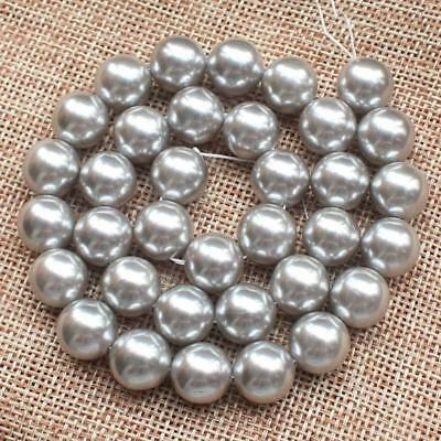 Natural 8/10/12/14mm Gray South Sea Shell Pearl Round Loose Beads 15'' AAA++