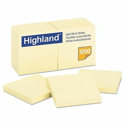 Highland Self-Stick Pads, 3 x 3, Yellow, 100 Sheets/Pad 12 Pads/Pack