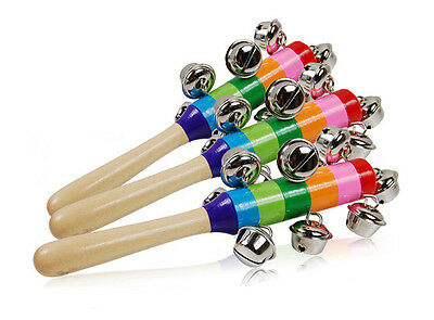 Wholesale Wooden Jingle Hand Bells For Kids Baby Cradle Music Shake Toy GY