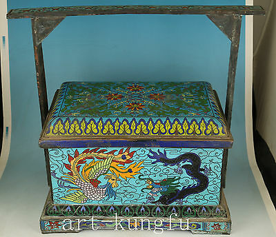 6.2KG  Cloisonne Bronze Exquisite Dragon Phoenix Food Carrier Cabas Box