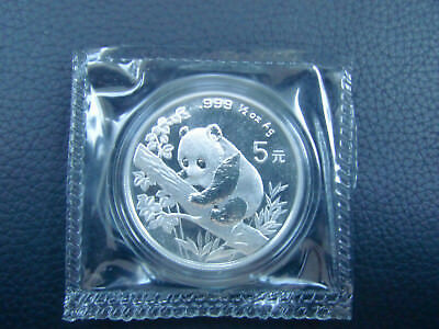 China 1995 Panda 1/2 Oz Ag Silber silver 5 Yuan Münze in OMP