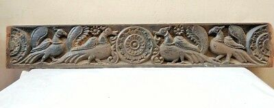 Antique Wall Panel Floral Peacock Hand carved Vintage Wooden Estate panel Decor