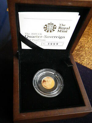 Great Britain 2009 Gold Proof Quarter Sovereign In Case & With Certificate