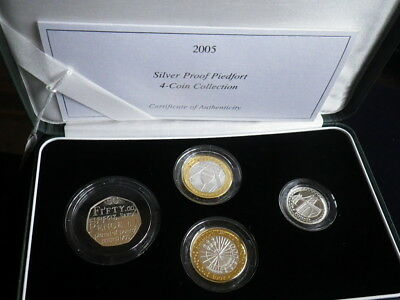 Great Britain 2005 Silver Proof Piedfort Set. 4 Coins In Case & With Cert    327