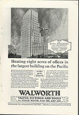 1927 WALWORTH valves advertisement, The RUSS BUILDING, San Francisco