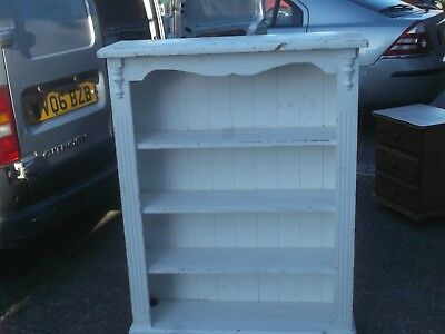 large solid pine bookcase shelf shabby chic painted 1970s vintage