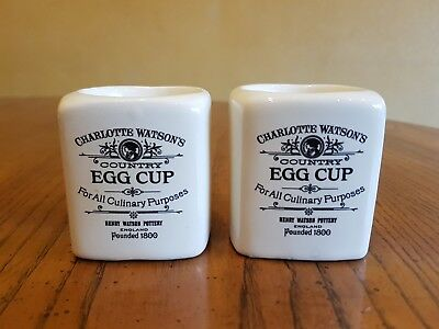 Lovely Pair Vintage English Ceramic Charlotte Watson's Square Shape Egg Cups
