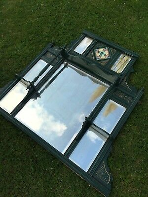 Antique painted over mantle decorative mirror finials/tile/bevelled glass
