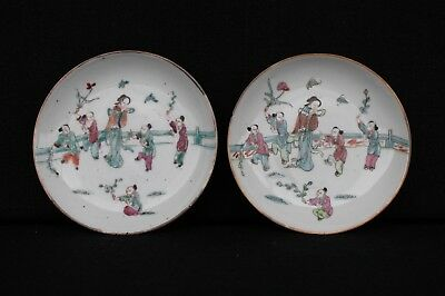 Two Tonghzi small plates with decoration of lady with children in a garden