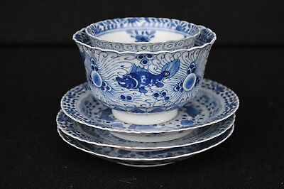 Two bowls and three saucers 19th century Chinese export porcelain Crab & Fish