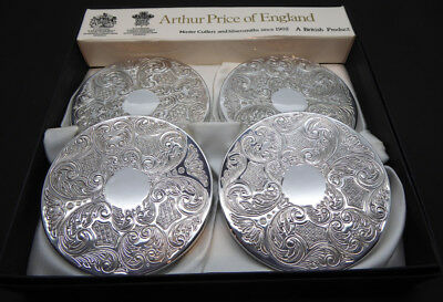 Arthur Price Set of 4 Silver Plated Coasters Drinks Mats Boxed