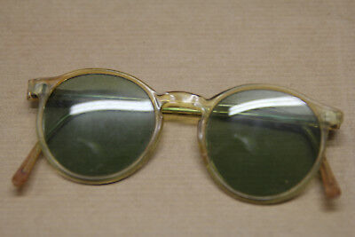 Vintage Green Lens Sunglasses Tortoise Shell Style Frame  With Leather Case