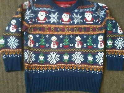 Cute TU boys navy blue Christmas jumper size 18-24 months in very good condition