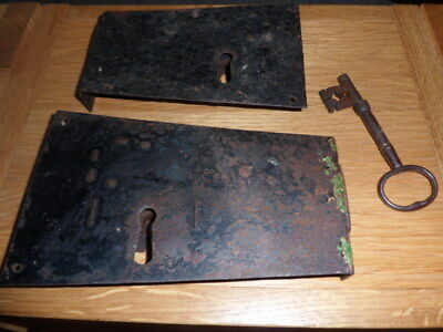 Large Collectible Antique ? Early Georgian Door Locks with Key....crude.
