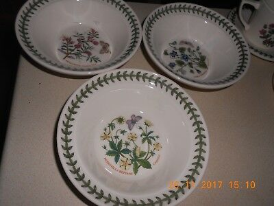 Portmeirion Botanic Garden Set Of 3 Cereal / Oatmeal Bowls 6.5 Inch