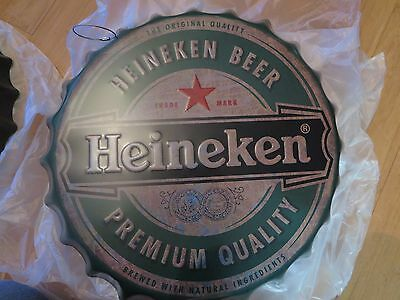 heineken beer  40 cm tin metal bottle cap sign MAN CAVE .