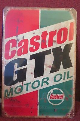 castrol gtx motor oil brand new.  tin metal sign MAN CAVE brand new