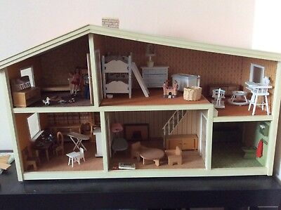 Vintage Lundy Dolls House , furniture and dolls