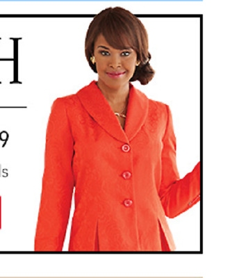 plus sz 16W Red Brocade Skirt Suit by Ashro  new