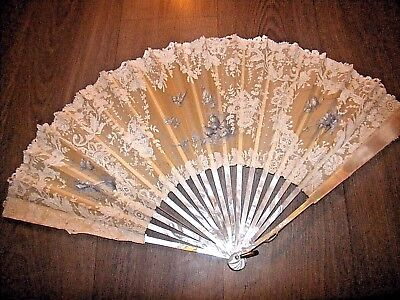 Vintage lace blue bird painted hand fan mother of pearl sticks damaged