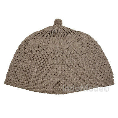 06d3a8297d3 TheKufi Light Beige Warm Knit Weave Stretchy Beanie Hat OneSize Cap -Ball  on Top