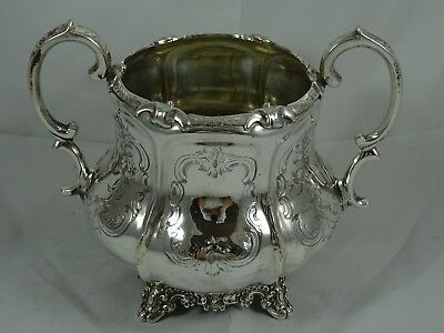 PRETTY , VICTORIAN silver SUGAR BOWL, 1854, 429gm