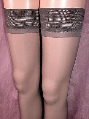 Lot Of 12 Sheer Gloss Hold Up Stockings Barely Black With Deep Patterned Tops Wp