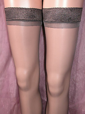 LOT OF 12 x SHEER GLOSS HOLD UP STOCKINGS BARELY BLACK WITH GLOSSY TOPS BP