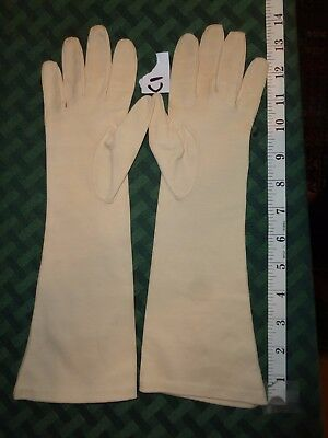 """Vintage Women's Gloves Pale Yellow 14"""" Cloth  Cotton Italy size 7 #C1"""