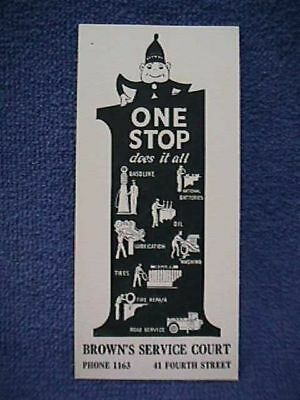 5 Cards BROWN'S SERVICE COURT c1920 ONE STOP 66 Gasoline, National Batteries