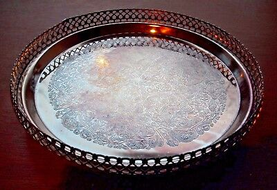 """Round 'Silver Plated' Gallery Tray with 3 Ball Feet 9"""" (23.5cm) Diameter"""
