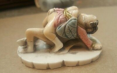 RARE Vintage Japanese Erotic Couple Shunga Netsuke Okimono Figurine Hand-Painted