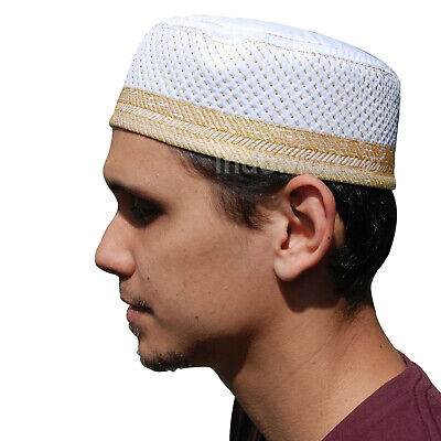 NEW White Metallic Gold Thread Islamic Thinly Padded Embroidery Kufi Hat Cap
