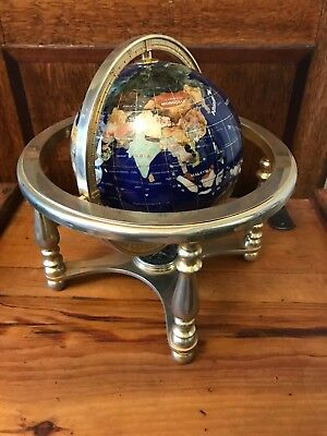Rare Vintage Gemstone Globe On Metal Stand With Compass