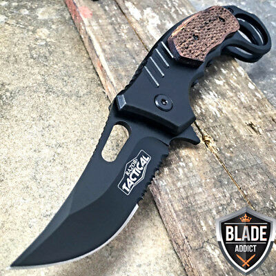 """7"""" BLACK Tactical Spring Assisted Open Karambit Pocket Knife Folding Claw EDC--M"""