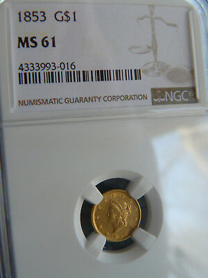 1853 $1 Gold NGC MS-61