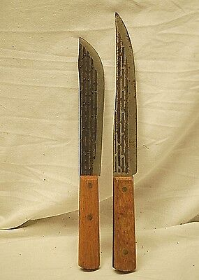 Classic Style Pair of Carbon Steel Butcher Knifes w Wooden Handles Kitchen Tools