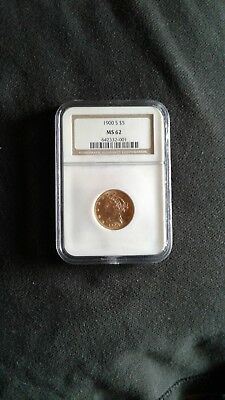 """1900 """"s"""" $5 gold coin ngc  ms 62 *NO RESERVE *"""
