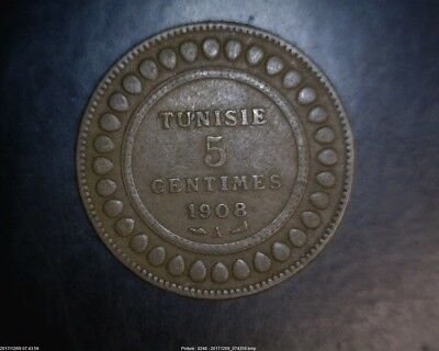 1908  5 Centimes From Tunisie