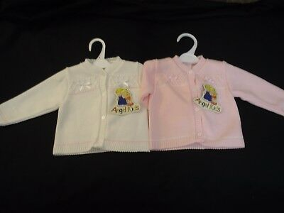Baby Girls clothes Spanish Style cardigan  knitted White Pink 6month- 24 months
