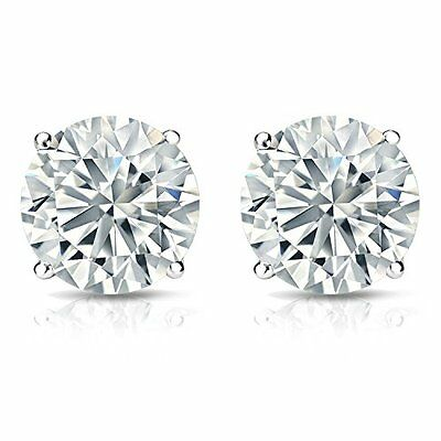 2.30ct ROUND CUT Certified diamond stud earrings 14k WHITE GOLD D VS2-SI1