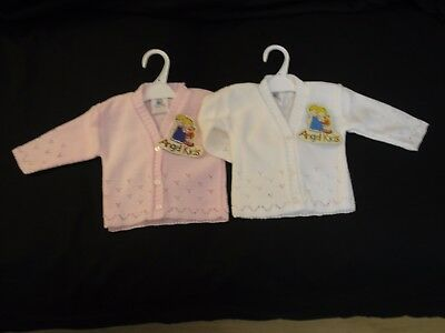 Baby Girl clothes  cardigan  knitted White Pink 0-3month 3-6months 6-9months